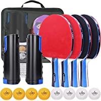 Richino Ping Pong Paddle, Table Tennis Set with 4 Rackets,8 ping Pong Balls and 1 Retractable Table Tennis net,Great Gift for Indoor or Outdoor Games