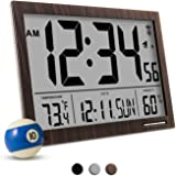 Marathon CL030062WD Slim-Jumbo Atomic Digital Wall Clock with Temperature, Date and Humidity