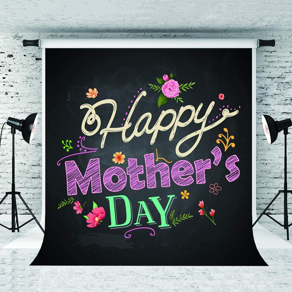 Little Lucky 6.5x10ft Happy Mothers Day Backdrop Handwriting Chalkboard Photography Background Pink Flowers Decor Mothers Holiday Party Shoot Backgrounds Studio
