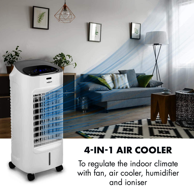 R/éservoir deau de 4 litres Blanc Ventilateur Rafra/îchisseur dair 4 en 1 3 Niveaux de Puissance Humidificateur OneConcept Coolster WhiteLine Ioniseur