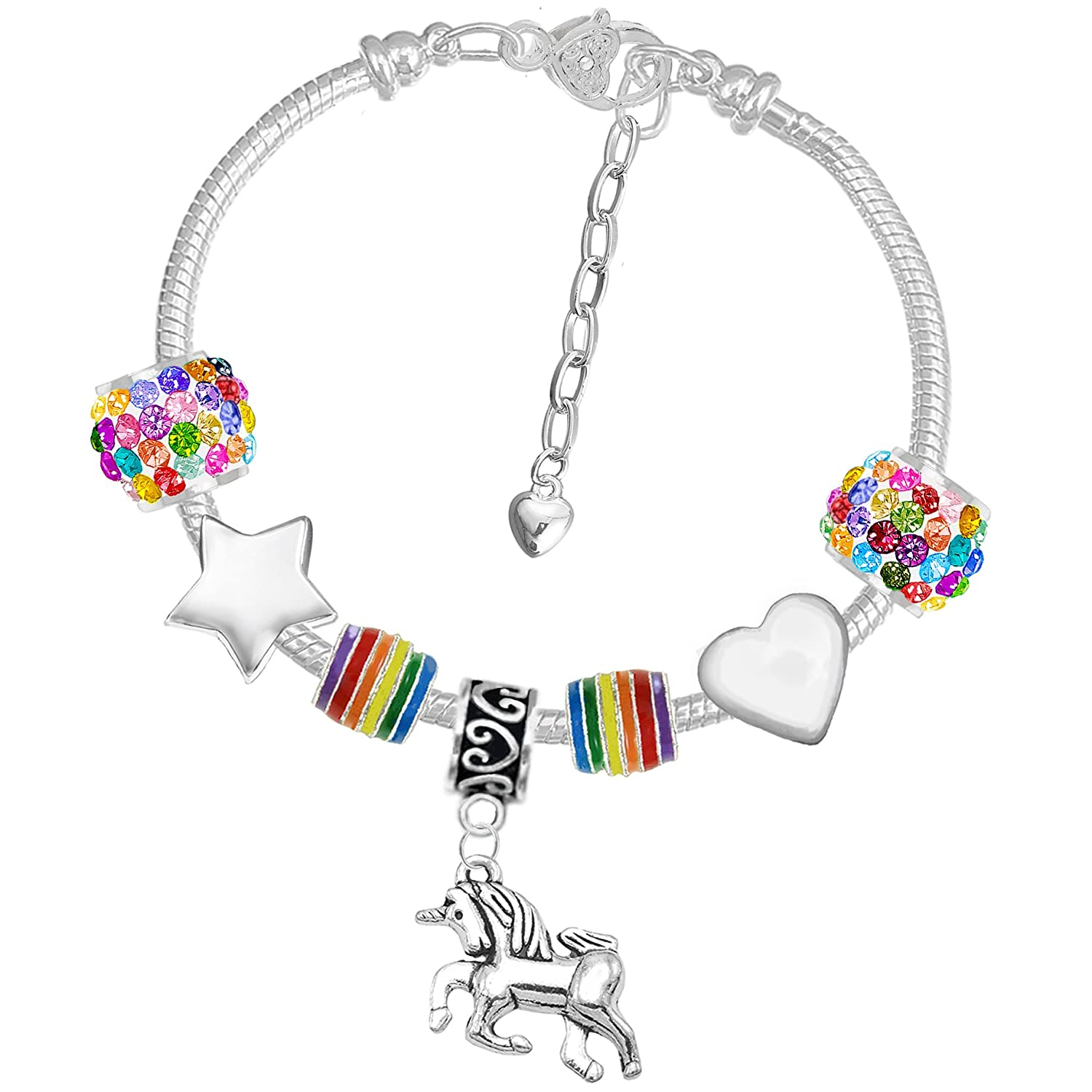 Girls Magical Unicorn Sparkly Rainbow Charm Bracelet Set with Greeting Card and Gift Box Charm Buddy ® NXG CH-71 Q-32