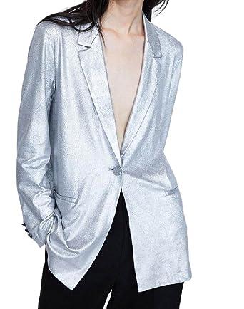 5796a16d0ca8 Tootless-Women New Liquid 1 Button Satin Metallic Blazer Jacket ...