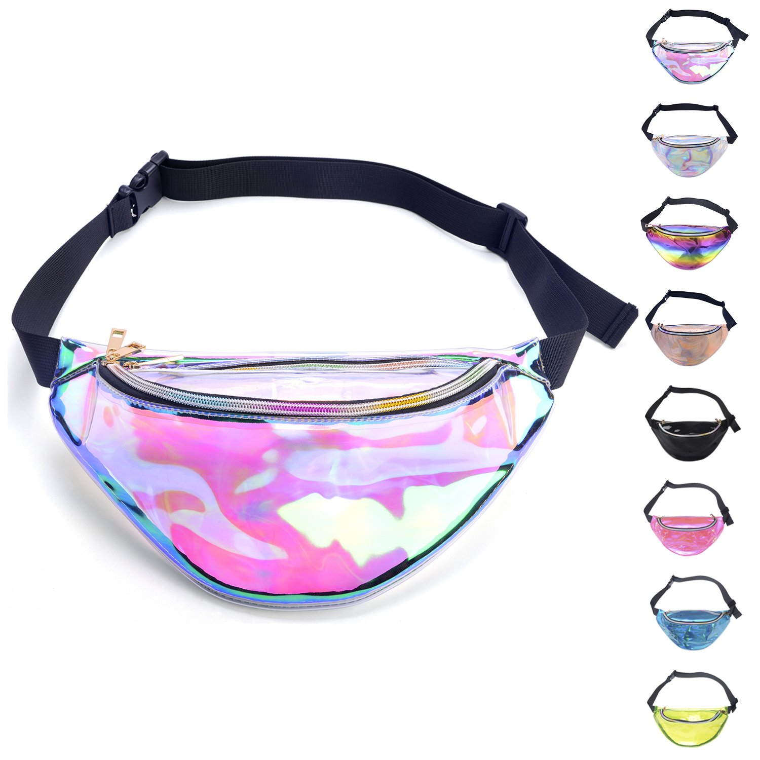 Miracu Holographic Fanny Pack, 80s Fanny Packs For Women And Men, Shiny Waist Pack Bum Bag Fashion For Rave, Festival, Party, Travel by Miracu