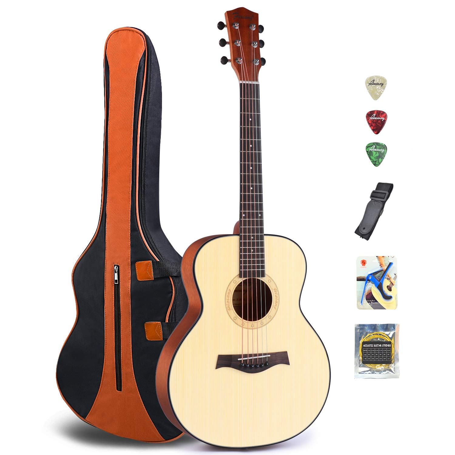 Acoustic Guitar for Guitar Beginner 36 Inch Classical Travel Guitar Bundle with Gig Bag Capo Strings Strap Picks (36-Re)