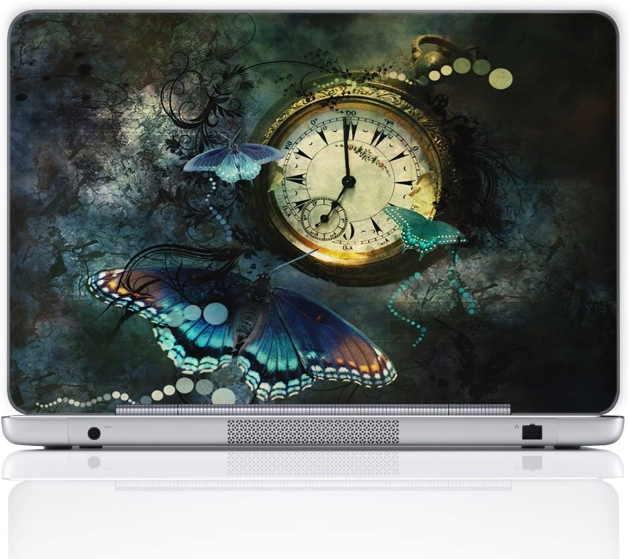 Meffort Inc 15 15.6 Inch Laptop Notebook Skin Sticker Cover Art Decal (Free Wrist pad) - Clock Butterflies