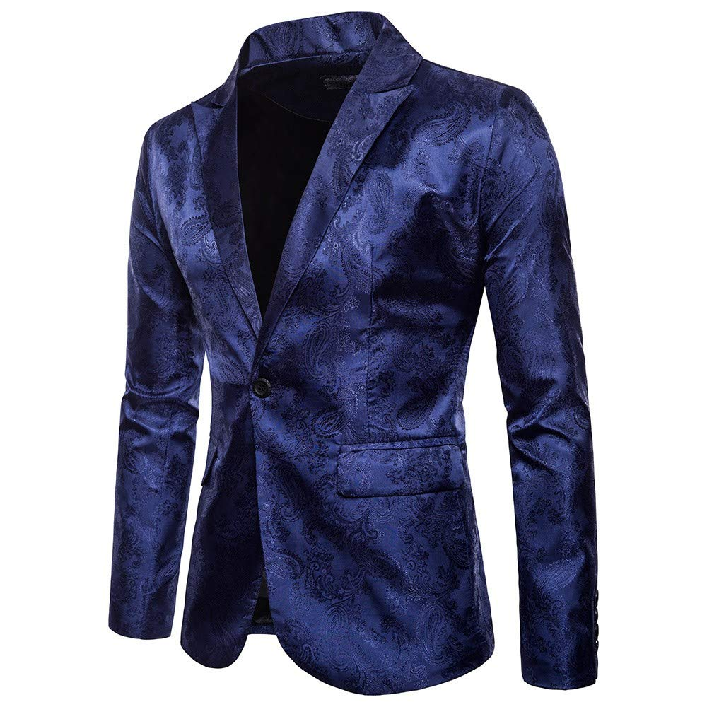 TAGGMY Men's Suit Jacket Slim Fit Formal Bussiness Long Sleeve Regular Fit Pattern Blazer Big and Tall Coat Top Navy
