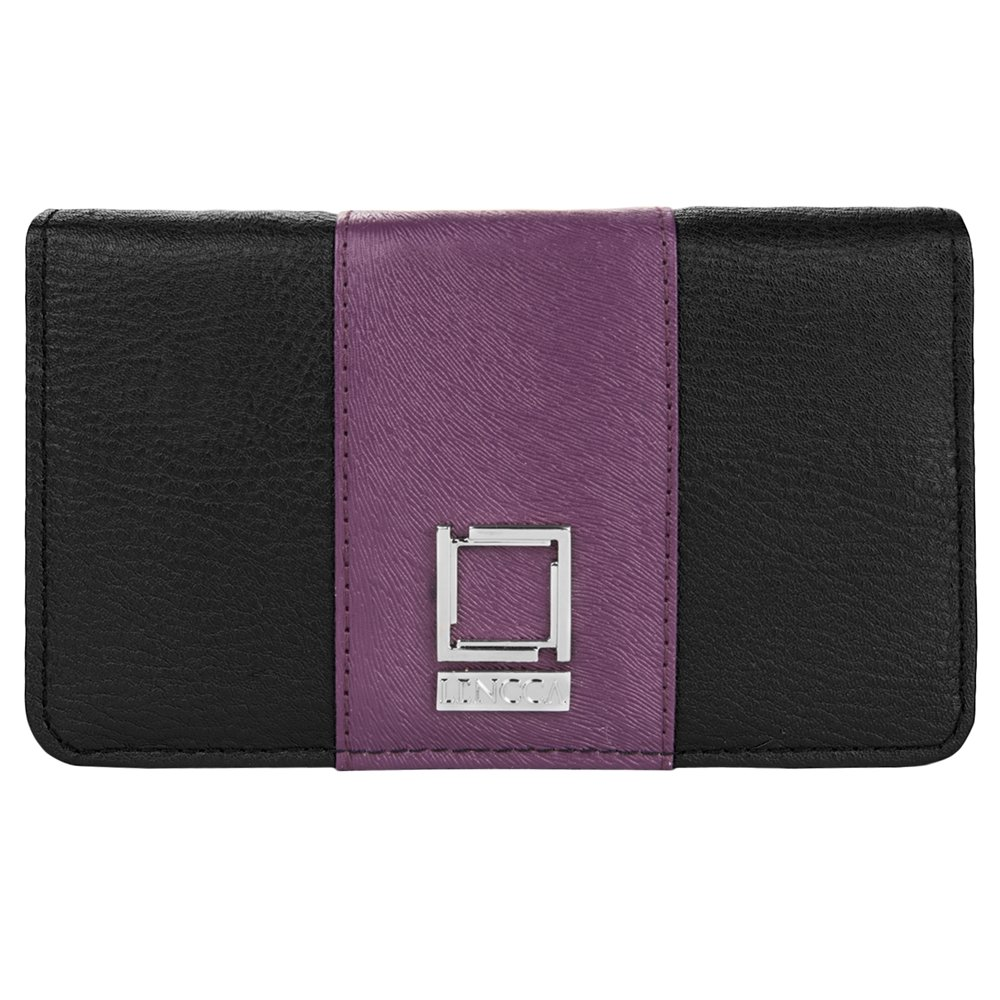 Vegan Leather Wallet Black / Plum for Vivo by BestPriceCenter
