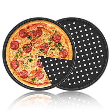 Pizza Pan with Holes, 2 Pack Segarty Carbon Steel Perforated Baking Pan with Nonstick Coating, 12 Inch Round Pizza Crispy Crust Tray Tools Bakeware Set Cooking Accessories for Home Restaurant Kitchen