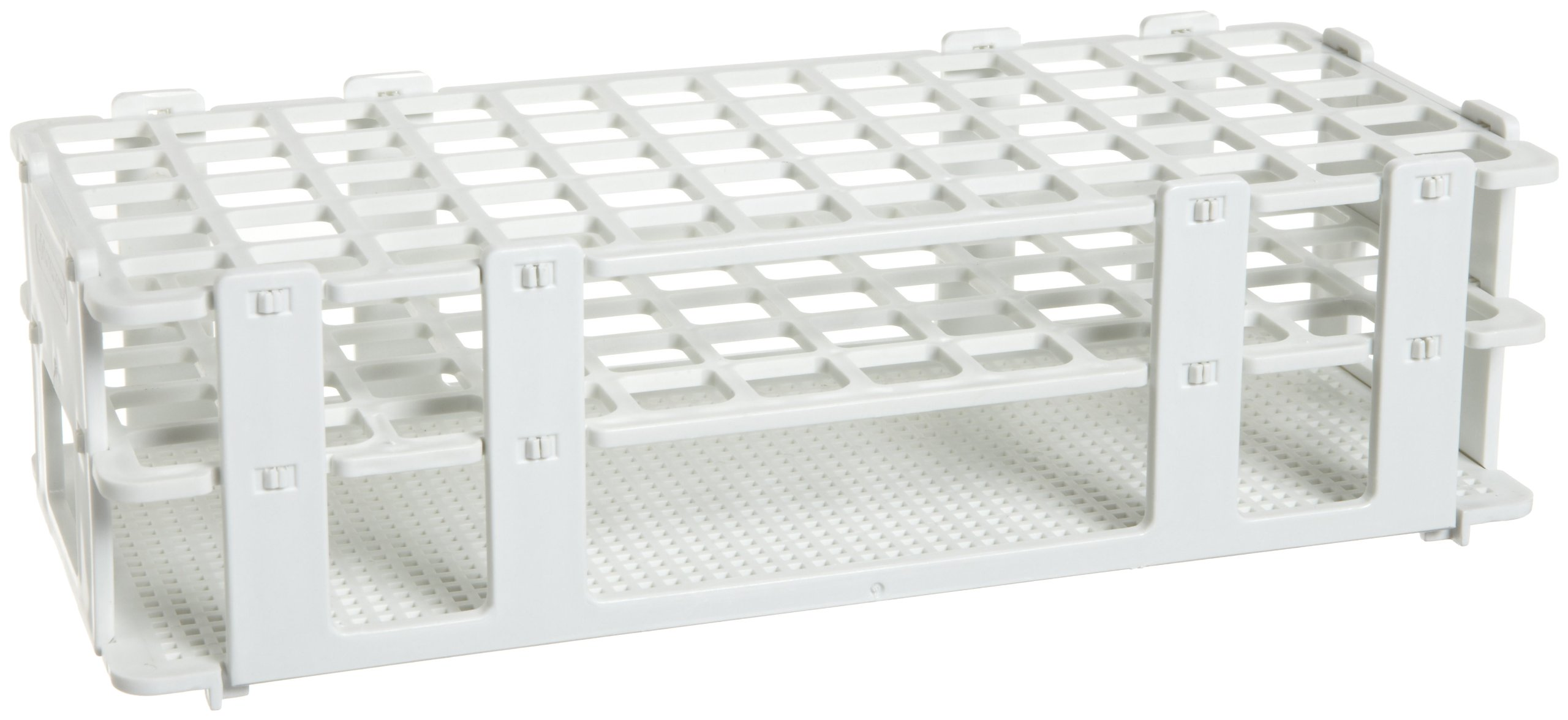 Bel-Art F18745-0001 No-Wire Test Tube Rack; 13-16mm, 60 Places, 9.7 x 4.1 x 2.5 in., Polypropylene, White