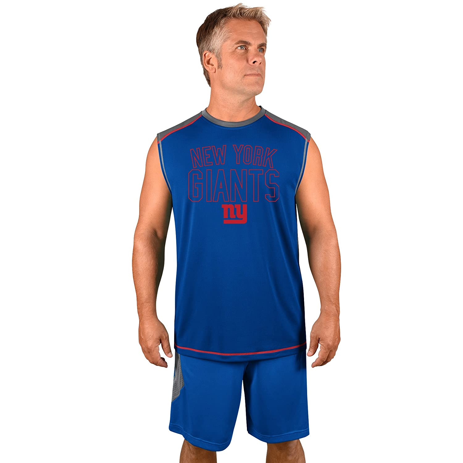 Profile Big Tall NFL New York Giants Adult Men NFL Plus S Synthetic Muscle 2X Storm Grey Royal