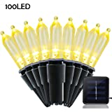 Lalapao Solar Powered Xmas String Lights M5 100 LED Clear Mini Fairy Christmas Lighting Decor for Outdoor Indoor Tree Garden Path Patio Lawn Holiday Bedroom Wedding Decorations (Warm White)