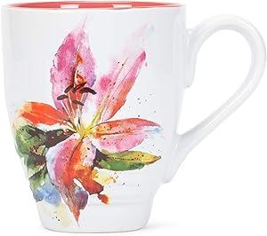 Dean Crouser Stargazer Lily Flower Watercolor Pink 16 ounce Glossy Ceramic Stoneware Mug