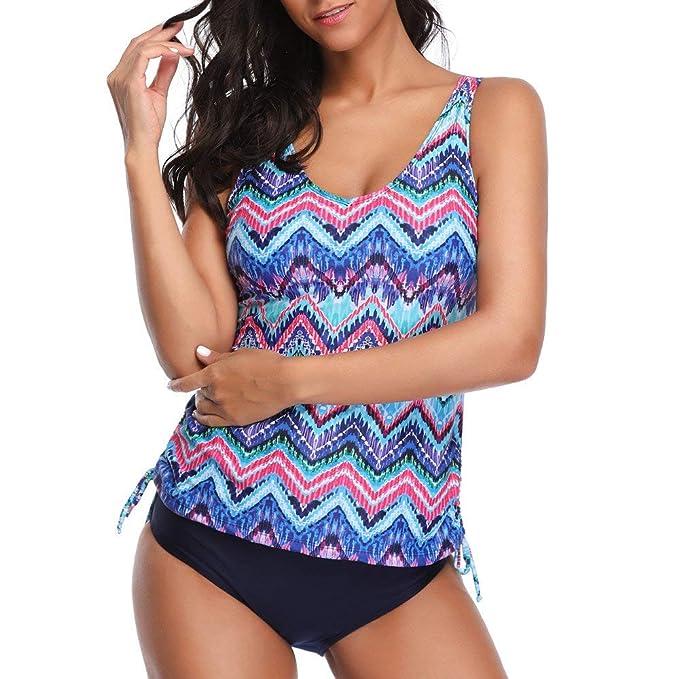 Ropa de baño Mujer Camisolas POLP Sujetador sin Espalda Push up Estampado de Flores para Mujer Bikini con Traje de Playa Traje de baño: Amazon.es: Ropa y ...