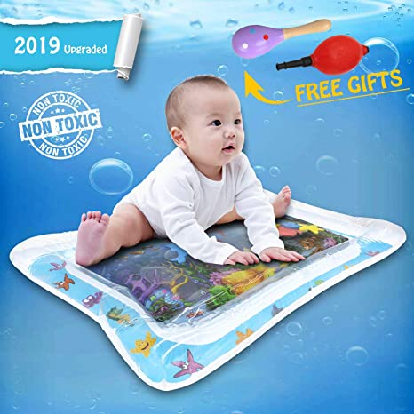 TerriTrophy Inflatable Tummy Time Premium Water Mat with Wooden Maraca Rattle for Infants /& Toddlers BPA Free Leakproof Tummy Mat-Pink Play Activity Center for Your Babys Stimulation Growth