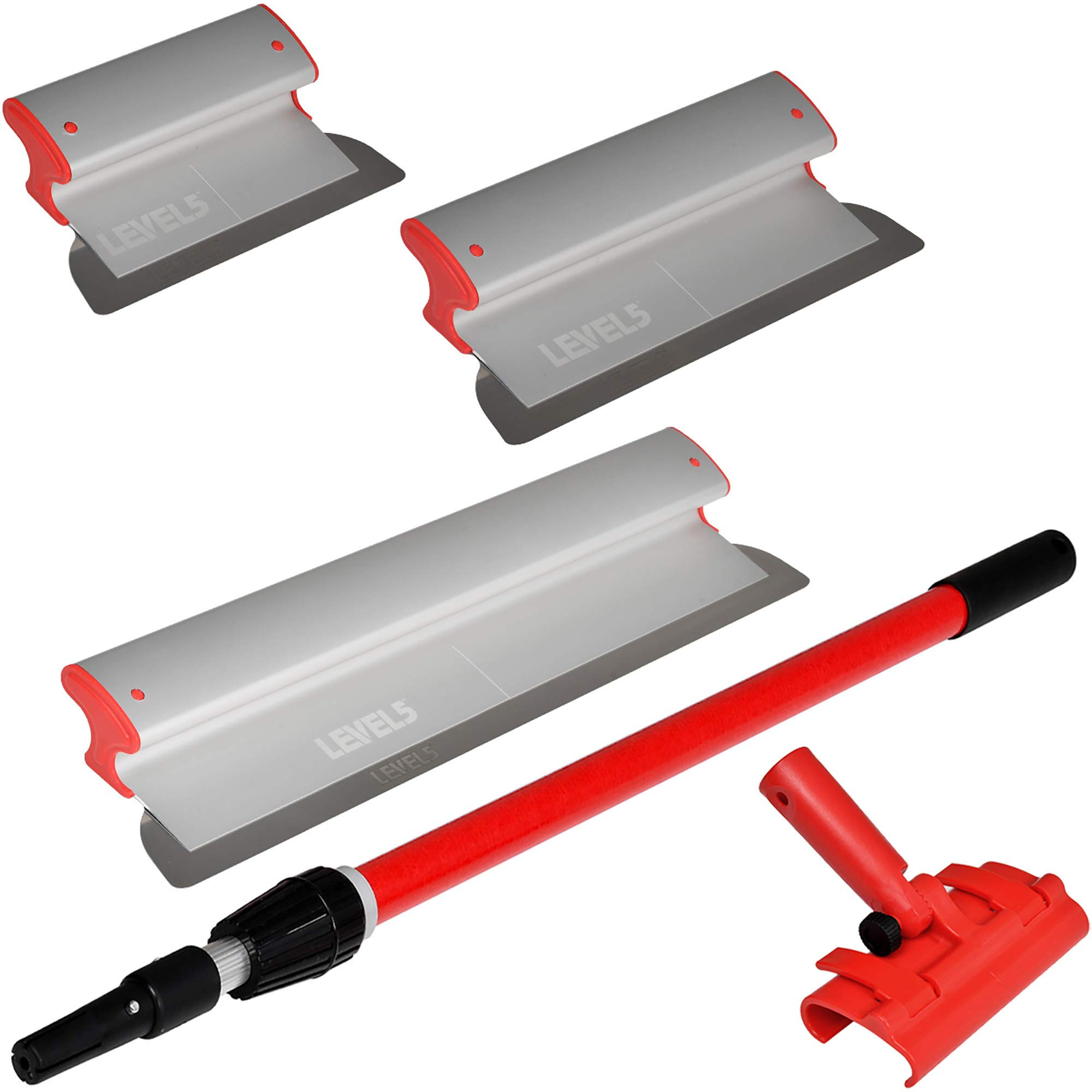 Drywall Skimming Blade Set - 10'', 16'' & 24'' Blades + 37'' - 63'' Extension Handle | LEVEL5 | Pro-Grade | Extruded Aluminum & European Stainless Steel Construction | High-Impact End Caps | 5-440 by Level5