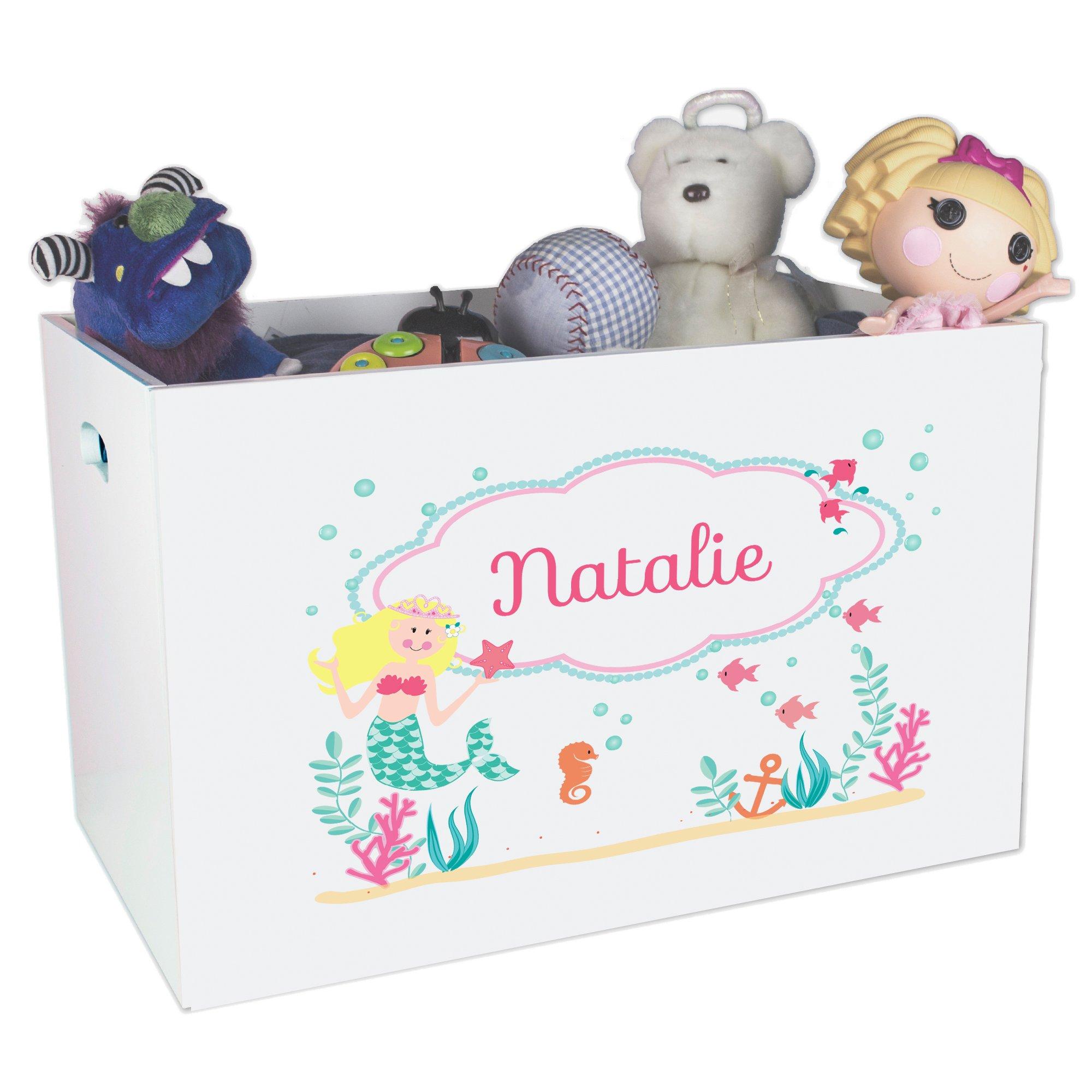 Personalized Mermaid Princess Childrens Nursery White Open Toy Box