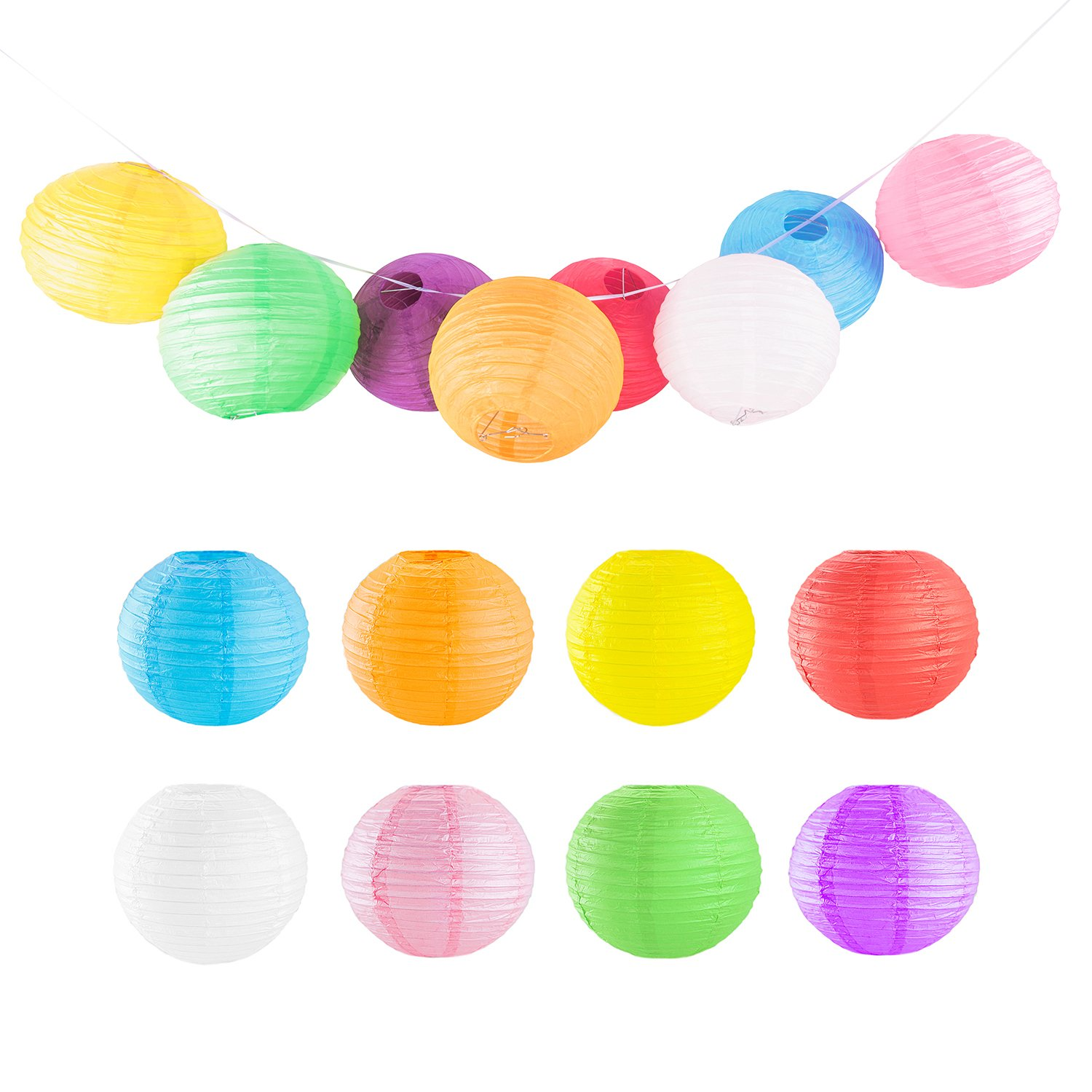 12'' Colorful Assorted Chinese/Japanese Hanging Paper Lanterns Metal Frame for Party, Home Lamps, Event Decoration (8 Pack)