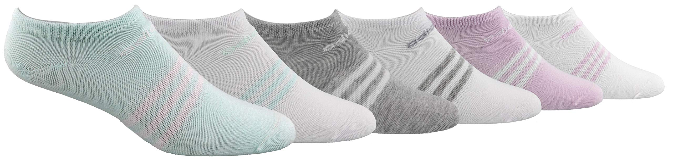 adidas Women's Superlite No Show Socks (6-Pair), Ice Mint/White White/Ice Mint Cool Light Heather/W, Medium, (Shoe Size 5-10) by adidas