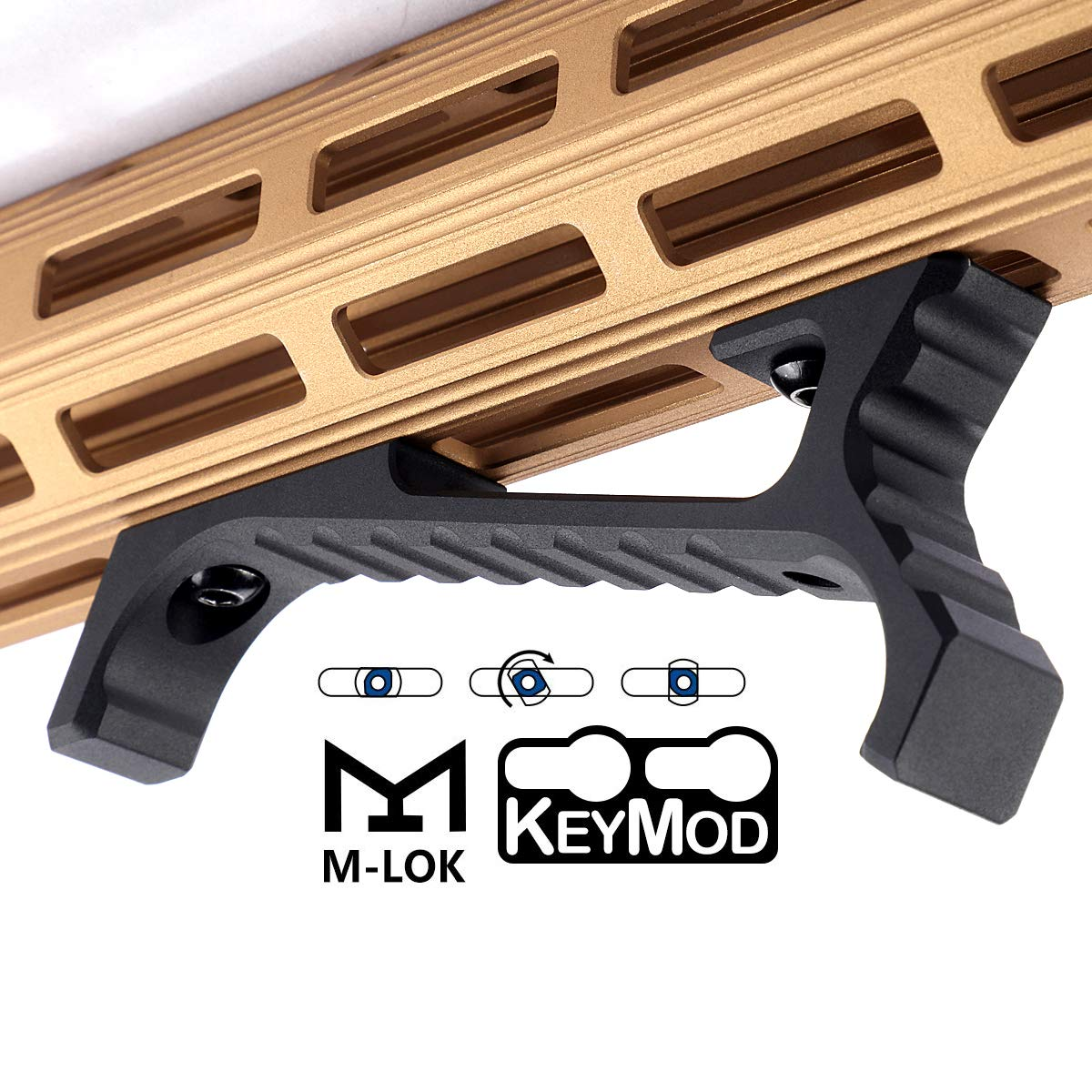 SmallDen Aluminum M-LOK KEYMOD Accessories for Mlok Picatinny Rail,fit Keymod Rail Sections(Black) by SmallDen
