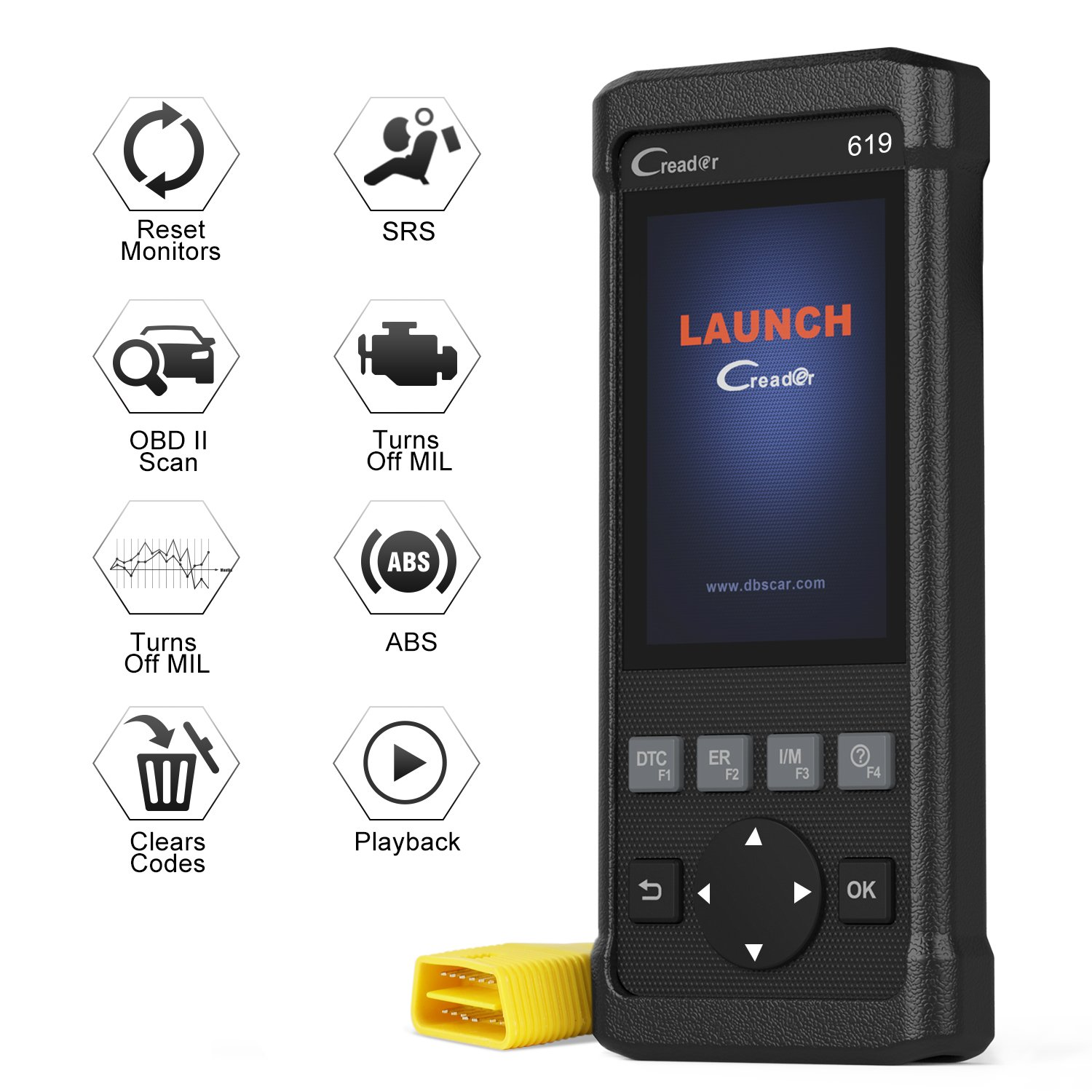 Launch Creader CR619 Automotive ABS SRS Diagnostic Scan Tool Auto Obd ii OBD2 Scanner Car Code Reader Check Engine SRS ABS Airbag Light Fault Code Reader with EVAP O2 On-board Monitor Test by LAUNCH (Image #1)