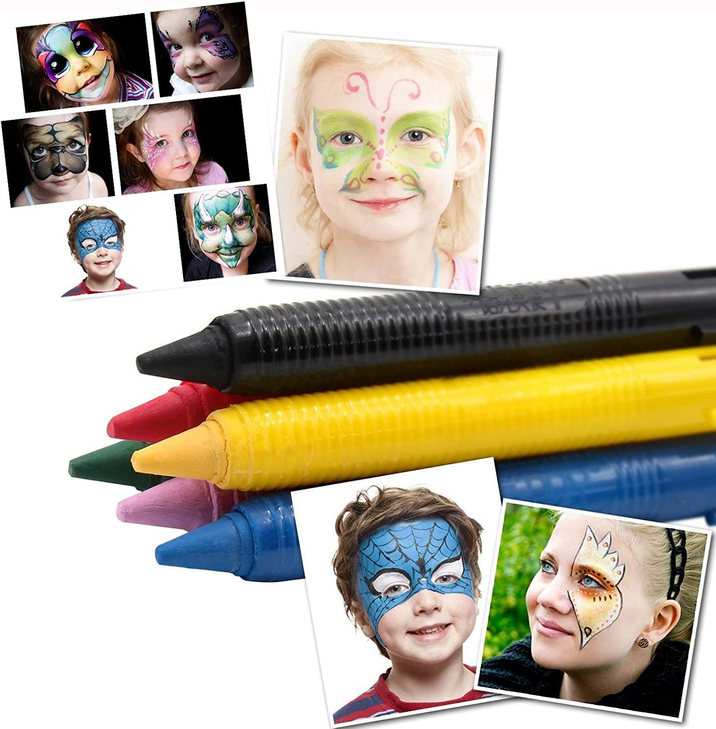 Xrten Children Drawing Set Party Cosplay 16 Colors Crayons Paint Kits for Kids Body Painting Halloween Makeup Face and Body Paint Crayons