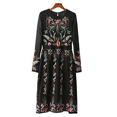 FDFAF Fashion Women Vintage Floral Embroidery Boho Party Dress Double Mesh Long Sleeve Midi Dresses Vestidos