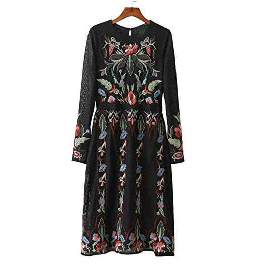 Amazon.com: FDFAF Fashion Women Vintage Floral Embroidery Boho Party Dress Double Mesh Long Sleeve Midi Dresses Vestidos BE223: Clothing