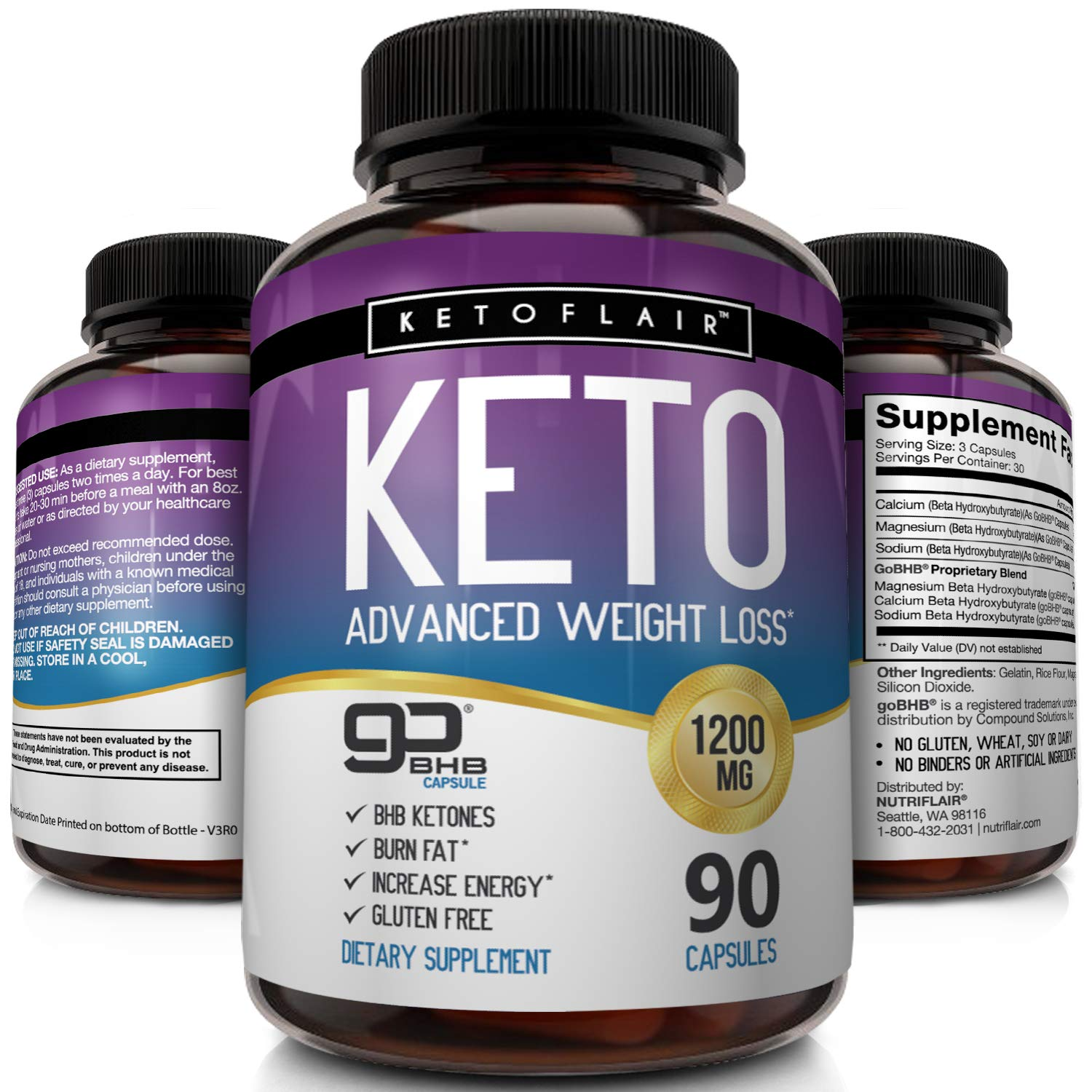 Best Keto Diet Pills GoBHB 1200mg, 90 Capsules Advanced Weight Loss Ketosis Supplement - Natural BHB Salts (beta hydroxybutyrate) Ketogenic Fat Burner, Carb Blocker, Non-GMO - Best Weight Loss Support by NutriFlair (Image #1)