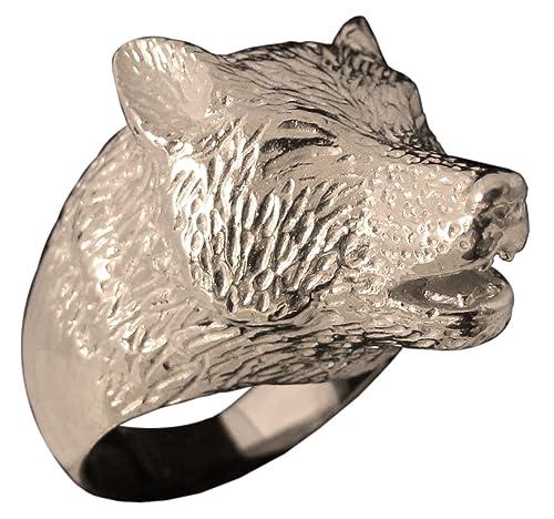 Anillo de lobo Animal tótem esculpido en bronce (tamaño H a ...