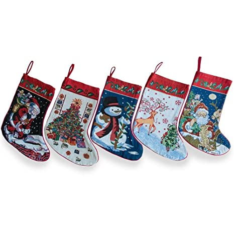 bestpysanky 18 set of 5 santa snowman reindeer tree christmas stockings - Amazon Christmas Stockings