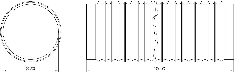 10 m de longitud tubo flexible de ventilaci/ón con canal de ventilaci/ón de aluminio flexible Tubo flexible de 200 mm de di/ámetro