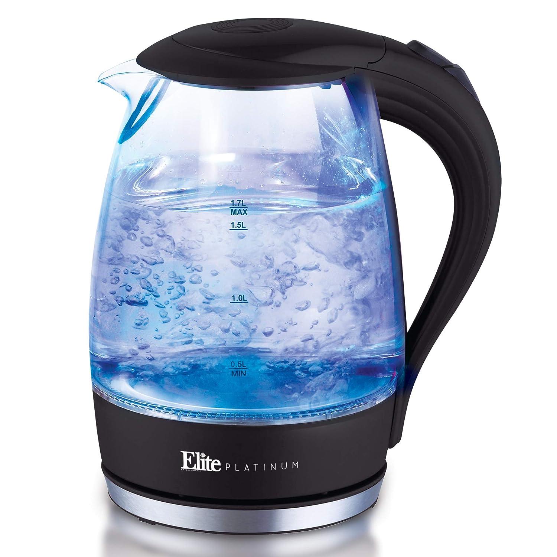 Elite Platinum EKT-300 Glass Electric Tea Kettle Hot Water Heater Boiler  BPA Free with LED Indicator, Fast Boil and Auto Shut-Off, 1 7L, Black