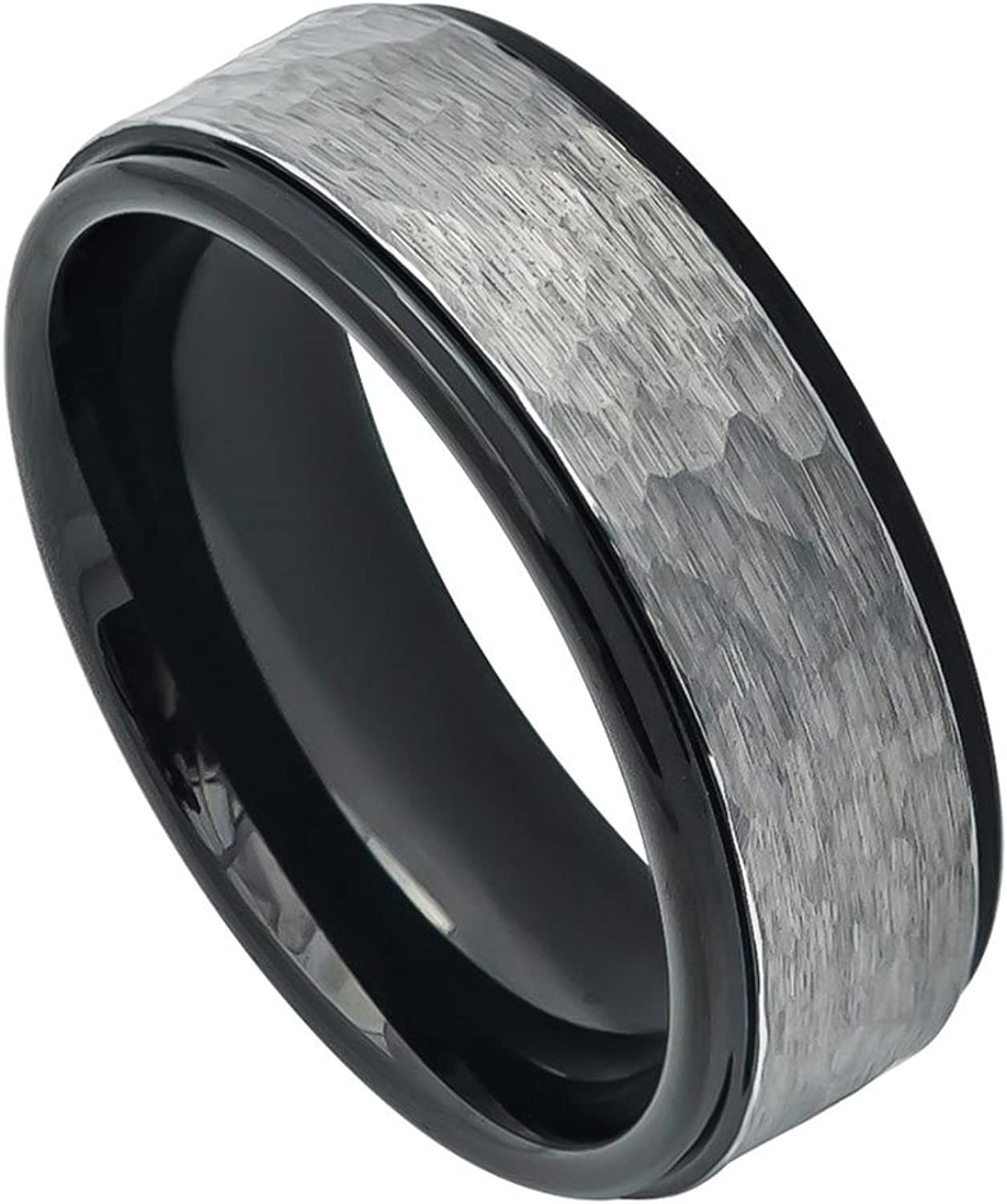 8mm Tungsten Carbide Two-Tone Hammered Gun Metal Brushed Finish Black IP Inner Ring Stepped Edge Wedding Band Ring