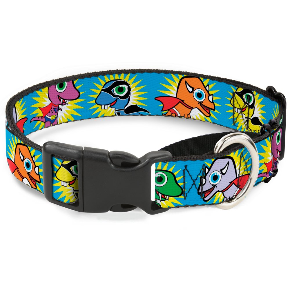 Buckle-Down Dinosaur Superhero Baby bluee Martingale Dog Collar, 1  Wide-Fits 9-15  Neck-Small
