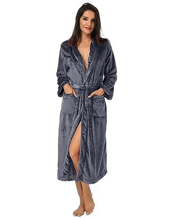 065a4a7ad3c12 Auxo Femme Kimono Tissage Gaufré Peignoir de Bain Waffle Longue Robe de Chambre  Spa Sauna Vêtements