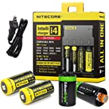 Nitecore Sysmax I4 Intellicharge i4 Four Bays universal battery smart charger, Two Nitecore RCR123 NL166 650mAH rechargeable batteries with 2 X EdisonBright AA to D type battery spacer/converters
