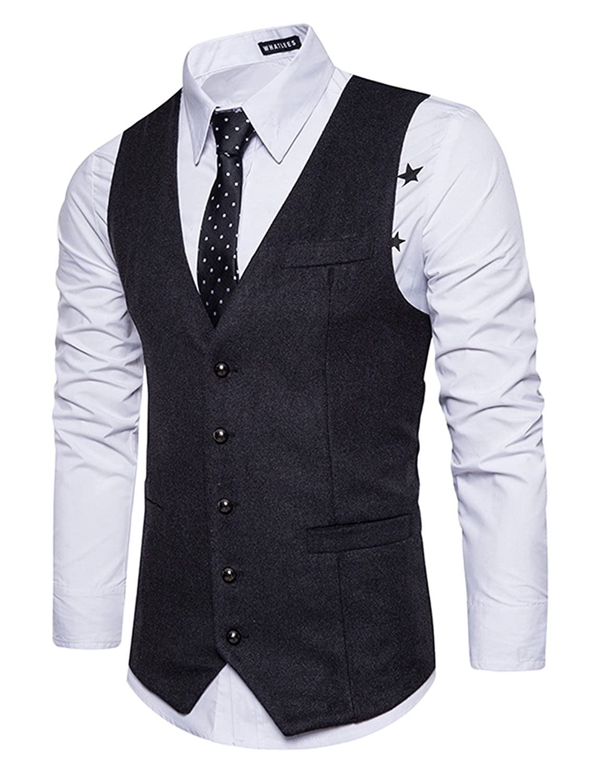 STTLZMC Leisure Élégant Homme Gilet Costume Veste Slim Fit sans Manches Business Mariage(sans Chemise) Leisurefr090801