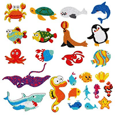 Farram 25Pieces 5D Sea World Diamond Painting Kits,DIY Mosaic Diamond Stickers Craft by Numbers Point Drill Tool for Kids and Adult Beginners: Toys & Games