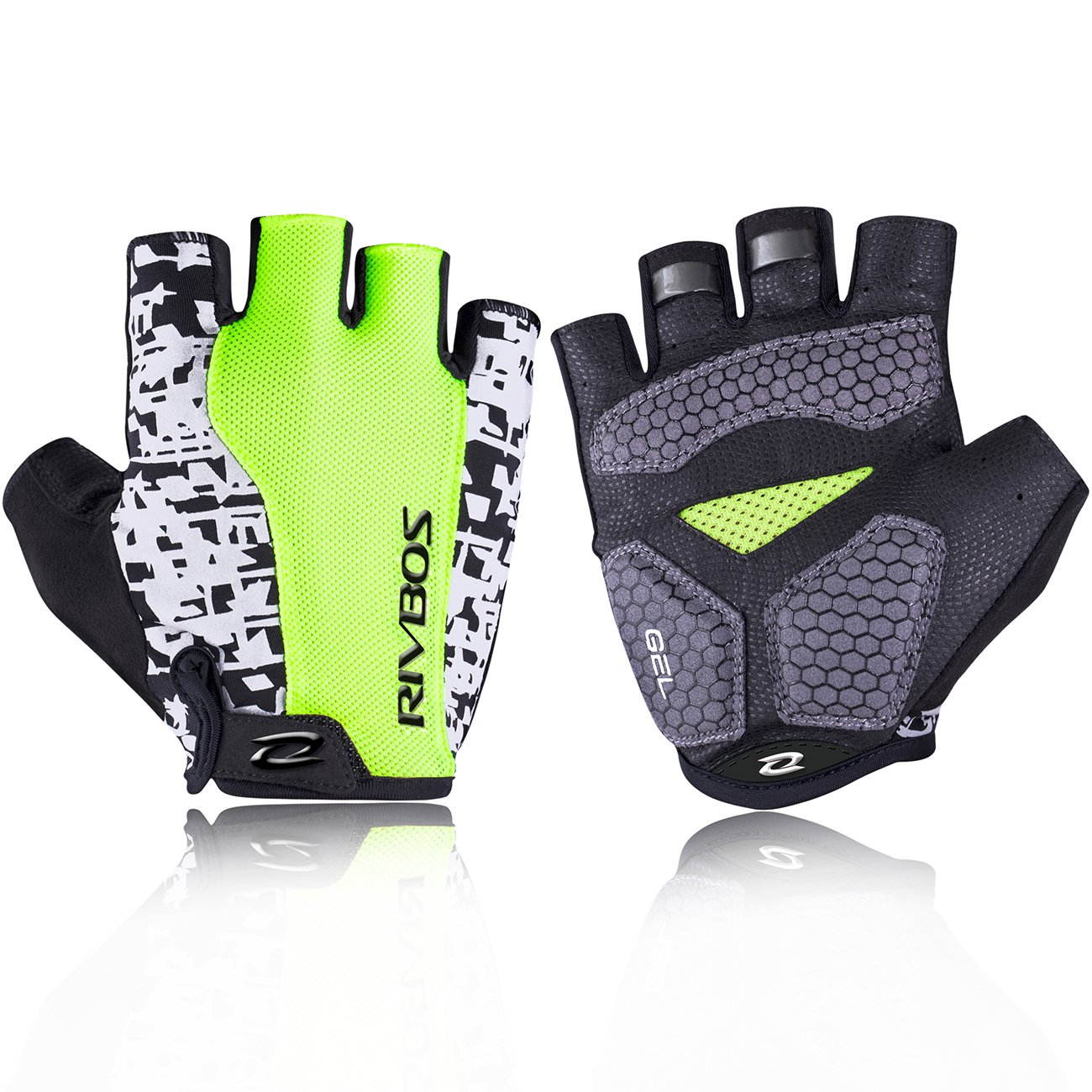 RIVBOS Bike Gloves Cycling Gloves Fingerless for Men Women with Foam Padding Breathable Mesh Fashion Design CHG001