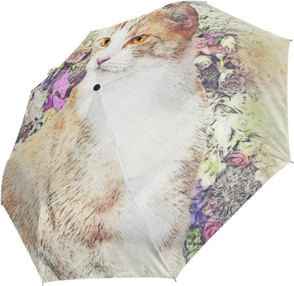 DOENR Compact Travel Umbrella Artistic Cat Sun and Rain Auto Open Close Umbrellas Portable Outdoor Folding Umbrella
