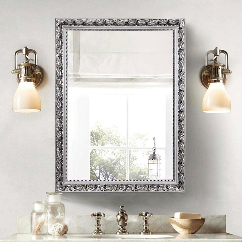 Amazon.com: Large Rectangular Bathroom Mirror, Wall-Mounted Wooden ...