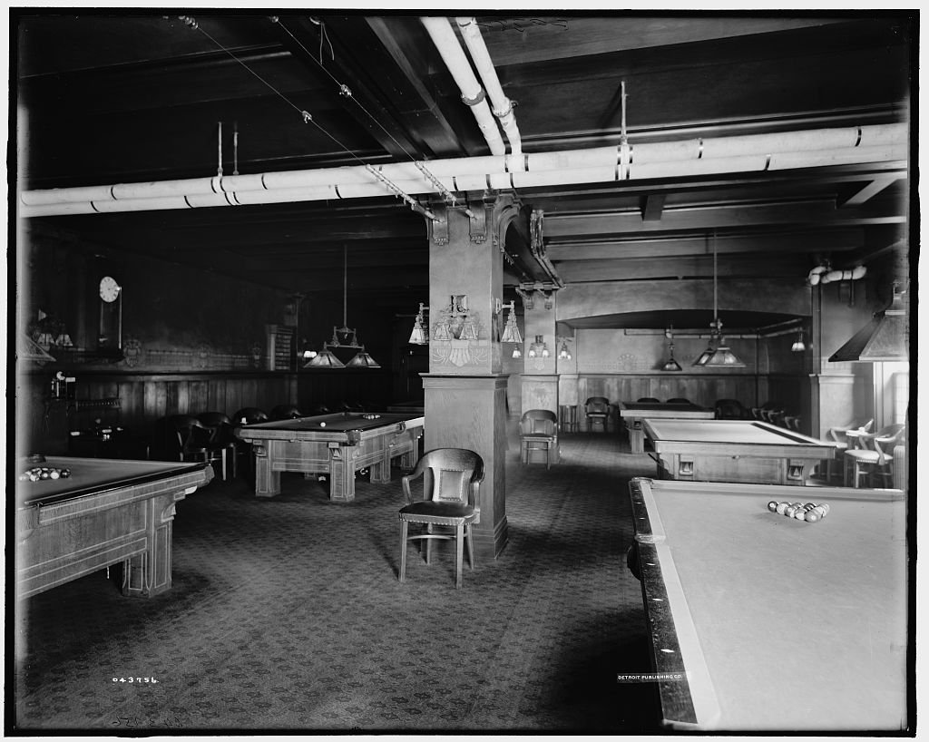 Vintography 8 x 10 Reprinted Old Photo Hotel Utica Billiard Room Utica N.Y. 1910 Detriot Publishing co. 60a