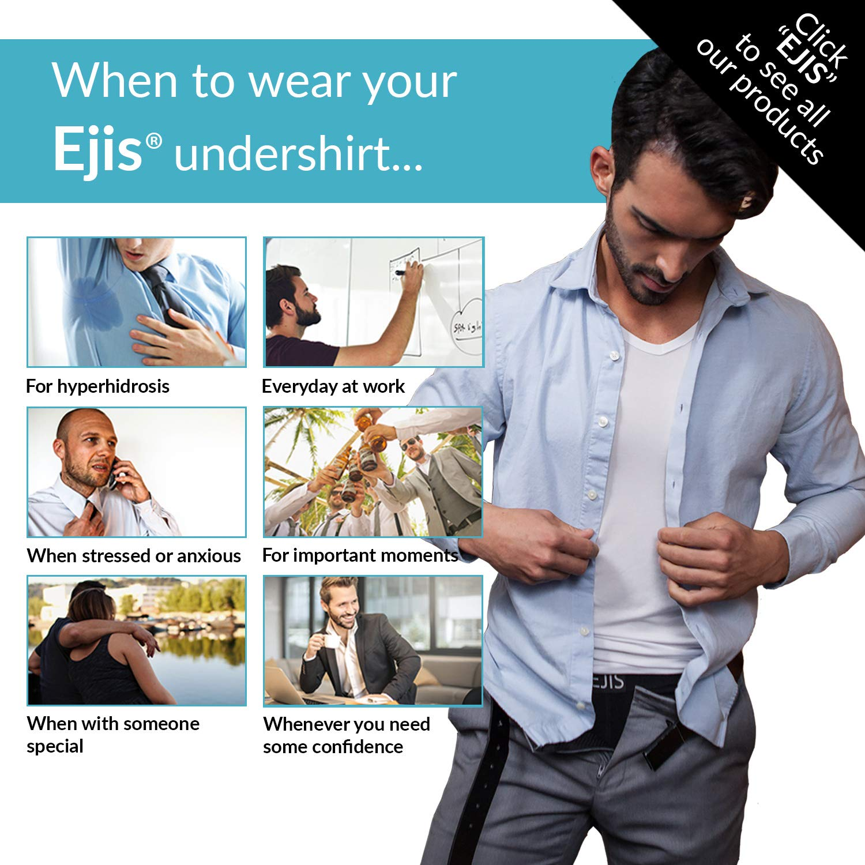 Ejis Cotton Crew Neck Sweat Proof Undershirts Men w//Sweat Pads /& Real Silver