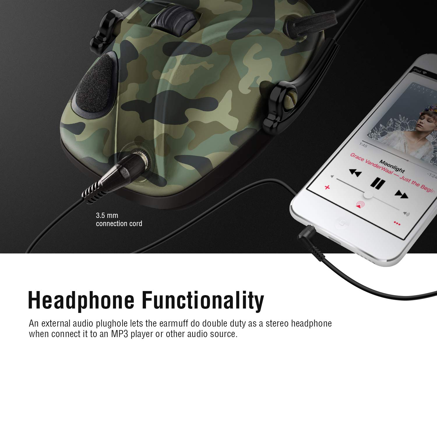 Awesafe Electronic Shooting Earmuff, Awesafe GF01 Noise Reduction Sound Amplification Electronic Safety Ear Muffs, Ear Protection, NRR 22 dB, Ideal for Shooting and Hunting … Camon by awesafe  (Image #6)