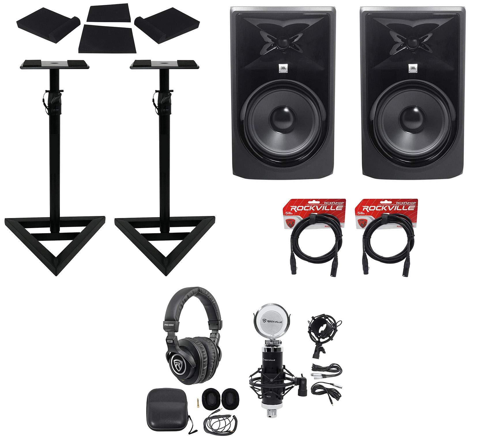 (2) JBL 308P MkII 8'' Powered Studio Monitors+Stands+Pads+Cables+Headphones+Mic