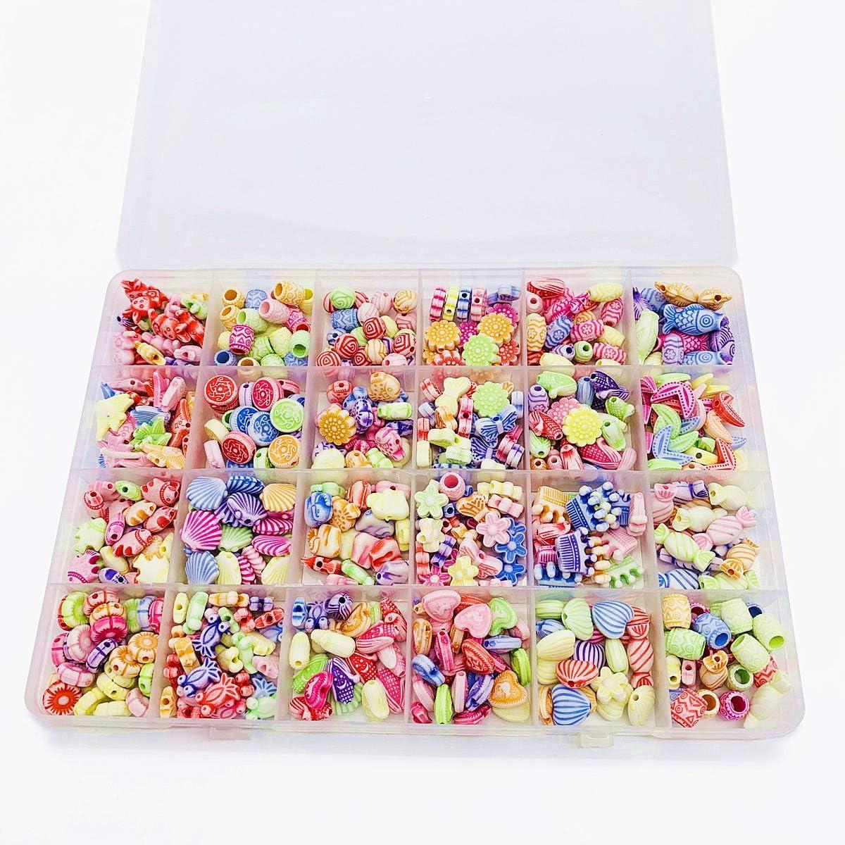 Bracelet Making Kit Gift Kit for Girls EFAILY 600 Pcs Children DIY Beads Set,A DIY Jewelry Bead Kit for Making Bracelets Necklaces