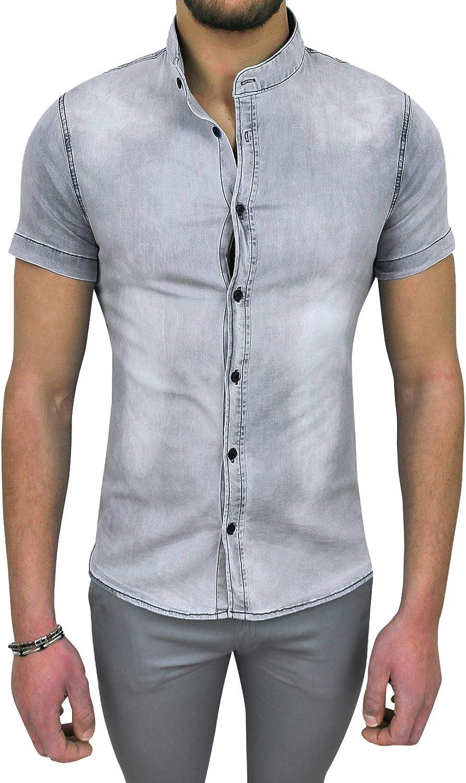 Evoga - Camisa de vaqueros para hombre, vaquero de manga corta, informal, Slim Fit gris S: Amazon.es: Ropa y accesorios