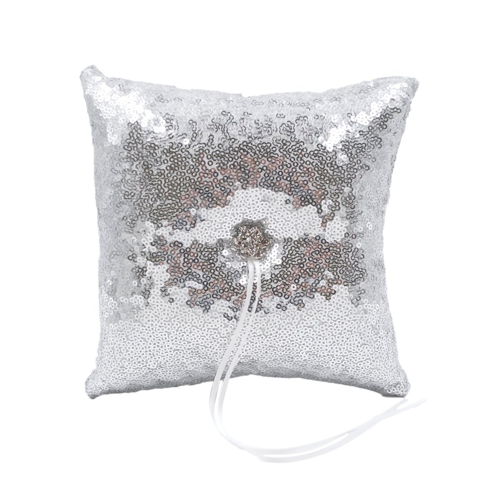 Abbie Home Sequin Glitter Wedding Ring Pillow Rhinestone Décor Wedding Party Favor (Silver Pillow) by Abbie Home
