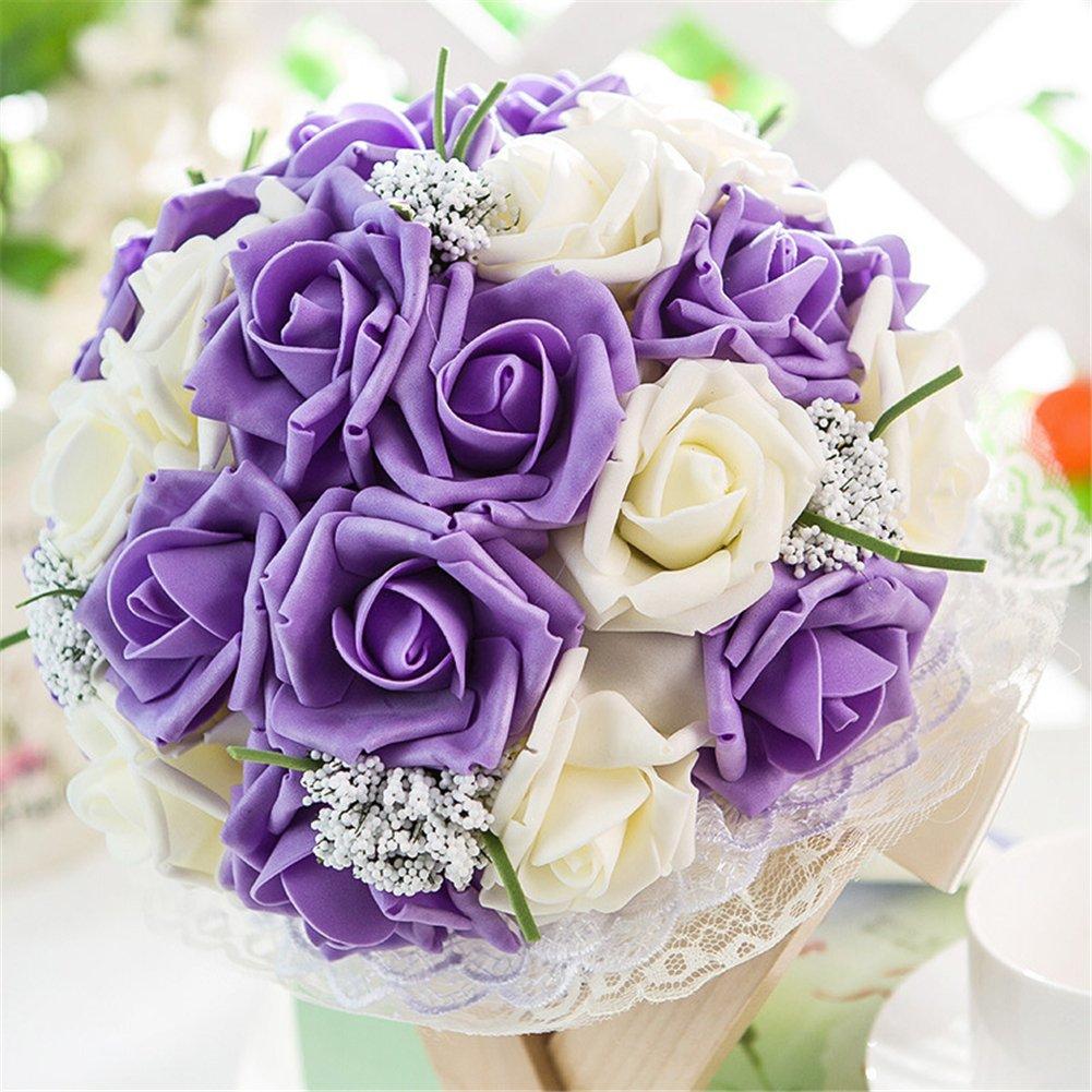 ウェディング花ブライダル美しいBouquetsロマンチック花嫁ウェディングHolding Bouquet withレースバラマルチカラーブライズメイド人工Holding花 パープル LHM-PENGHUA9ZI B07BTRJV4W パープル