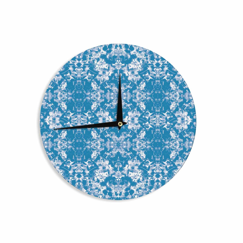 12 Wall Clock Kess InHouse Carolyn Greifeld Modern Blue White Damask Pattern